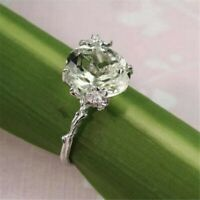 Women 925 Silver Tsavorite Floral Jewelry Wedding Gift Solitaire Ring Size6-10
