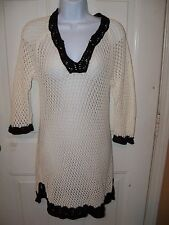 GAP BODY Ivory /Black Swimsuit Cover Up Size Small Women's NWOT LAST ONE