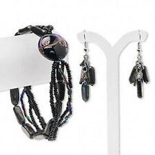 Bracelet Earrings Set Multi Strand Jewelry Lampwork Beads Black