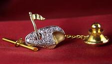 .20 CT Genuine Diamond Golf Themed Tie Tack - 14KT Gold