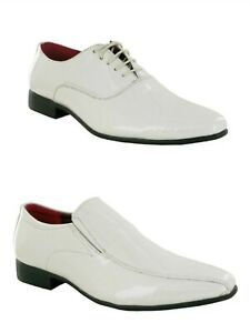 MENS WHITE PATENT SMART ITALIAN DRESS PARTY GENTS SHOES FORMAL OFFICE WORK SIZE