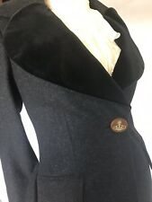 VIVIENNE WESTWOOD Wool/Cashmere/Velvet 44 (12) Coat CHARCOAL BNWT £805 RED LAB