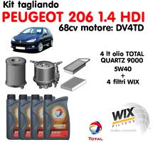 KIT TAGLIANDO OLIO TOTAL QUARTZ 5W40 LT 4 + 4 FILTRI WIX PEUGEOT 206 1.4 HDI