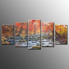 FRAMED Wall Art for Kitchen Decor Autumn Stream Stretched Canvas Print-5pcs
