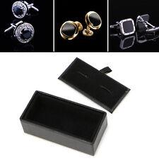 Men Faux Leather Cufflinks Tie Clip Ring Storage Box Organizer Display Cuff Case