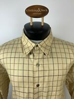 Burberry London Mens Sz L Yellow Check Long Sleeve Dress Shirt 100% Cotton