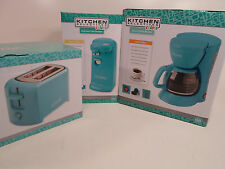 Set of Kitchen Can Opener 5 Cup Coffee Pot Maker and Toaster Blue Teal Turquoise