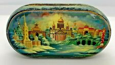 Russian Paper Mache Lacquer Jewelry Box scene City of St. Petersburg Pearl Inlay