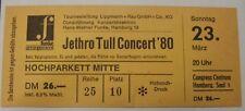 Jethro Tull Concert 23-3-80 Amburgo TICKET BIGLIETTO CONCERTO biglietto
