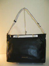 MICHAEL KORS Large Leather Chelsey Black Shoulder Crossbody Zip Top Bag $478