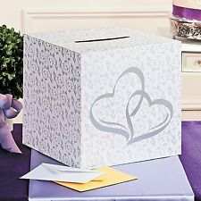 "10"" x 10"" Card Box w/ Slot Double Heart Design White Silver Wedding Money Box"