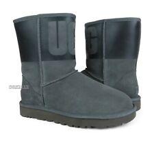 UGG Classic Short UGG Rubber Black Grey Suede Fur Boots Womens Size 8 *NIB*