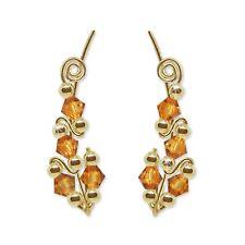 Ear Sweeps Pins Climbers Vines Earring Gold w/ Swarovski Topaz Crystals 244-C15