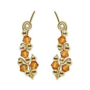 Ear Climbers Ear Crawlers Sweeps Earring Gold with Swarovski Topaz Crystals #244