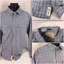 JACHS Western Shirt XXL Blue Plaid 100% Cotton Long Sleeve Button (F603) YGI