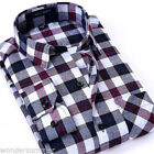 Mens Boys Flannel Vintage Casual Checked Formal Slim Fit Shirts Tee Long Sleeve