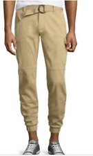 NWT ECKO JEANS CARGO JOGGER BANDED BELTED PANTS KHAKI SLIM FIT TAPER LEG 34X30