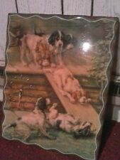 Wooden Lacquered Clock Hunting Dogs Playing on Slide