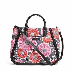 NWT Authentic Vera Bradley Trapeze Tote Bag in Cheery Blossoms with Black Trim