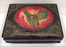 Vintage Russia Painted Lacquer Box Pheasant Bird Hinged Lid Black Red Int Signed