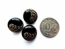1930s Vintage Sm Gilded Paisley Black Glass Dress Craft Collectible Buttons-18mm