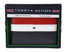 Tommy Hilfiger Men's Leather Wallet Passcase Billfold Rfid Red Navy 31TL220053