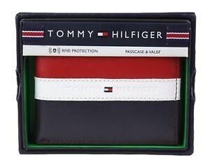 Tommy Hilfiger Men's Leather Wallet Passcase Billfold Rfid Red Navy 31TL220053