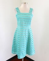 Adrianna Papell Teal Green Tan Nude Striped Fit and Flare Cocktail Party Dress 4