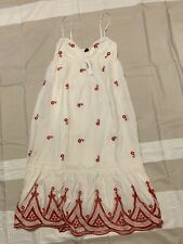J. Crew, maxi dress with embroidery, color White with red flowers, size XS