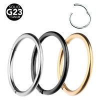 Surgical Steel Hinged Segment Ring Hoop Ear Lip Nose Septum Ring Piercing 14/16g