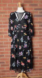 Asos Black Floral Cut Out Dress UK 10