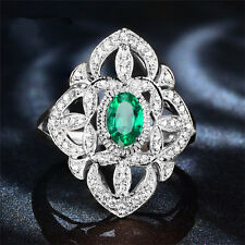 Natural Colombia Emerald Good Diamond Solid 14K White Gold Fine Ring