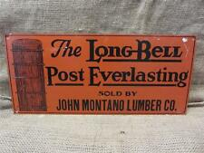 Vintage Long Bell Post Co Metal Sign > Old Antique Office Store Business 8426