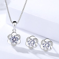 925 Sterling Silver Crystal Swirl Necklace Stud Earrings Womens Girls Jewellery