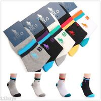 5 Pairs Lot Men's HJC Polo Sport Crew Quarter Combed Cotton Socks Arch Support