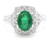 1.70Ct Natural Emerald & Diamond 14K Solid White Gold Ring
