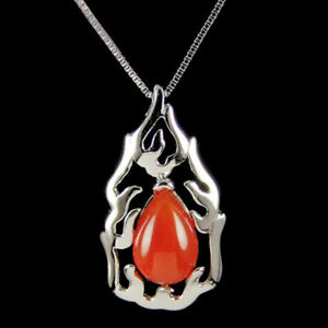 Euphyllia Silver Trendy Flame Red Agate Pendant  (x506)