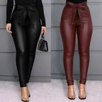 PU Leather Pants Stretchy Skinny  Pencil Trousers  High Waisted