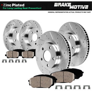 For BMW 525i 530i 535i Front & Rear Drill Slot Brake Rotors And Ceramic Pads