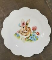 NEW (4) Grace Teaware Easter Bunny Rabbit Floral Scalloped Salad Plates