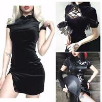 Damen Sexy Kleid Mit Schlitz Cheongsam Qipao Satin Asian Dress Punk Gotisch