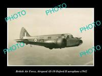 OLD LARGE HISTORIC PHOTO OF BRITISH AIR FORCE RAF AIRSPEED OXFORD PLANE c1942