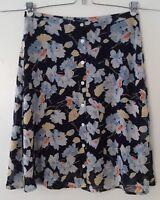 Chaps Women's Blue Black Floral Print Button Down A-Line Skirt Size 14