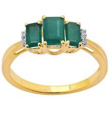 9ct yellow gold green emerald and created diamond threestone trilogy ring