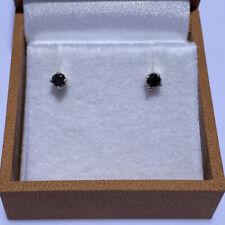 14k White Gold 3.1mm Black Diamond Stud Earrings
