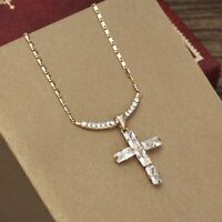 Clear White Zircon Stone 14k Gold Plated Cross Chain Necklace Pendant Jewellery