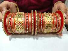 Indian Wedding Dulhan Red Bridal Style Chura Kundan Rajwadi 2.4 Bangle Set