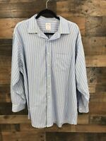 Brooks Brothers Men's Blue & Yellow Striped Long Sleeve Button Up Size 17.5 - 34