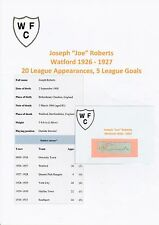 JOE ROBERTS WATFORD 1926-1927 RARE ORIGINAL HAND SIGNED CUTTING/CARD