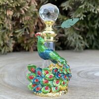 Peacock Garden Vintage-Style XS 4mL Metal Glass Oil Perfume Bottle Forest Green
